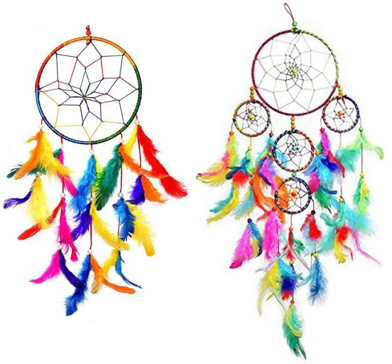 Ryme Car & Wall Hanging Dream Catcher, Attract Positive Dreams (Pack of 2 ) Feather Dream Catcher(10 inch, Multicolor)