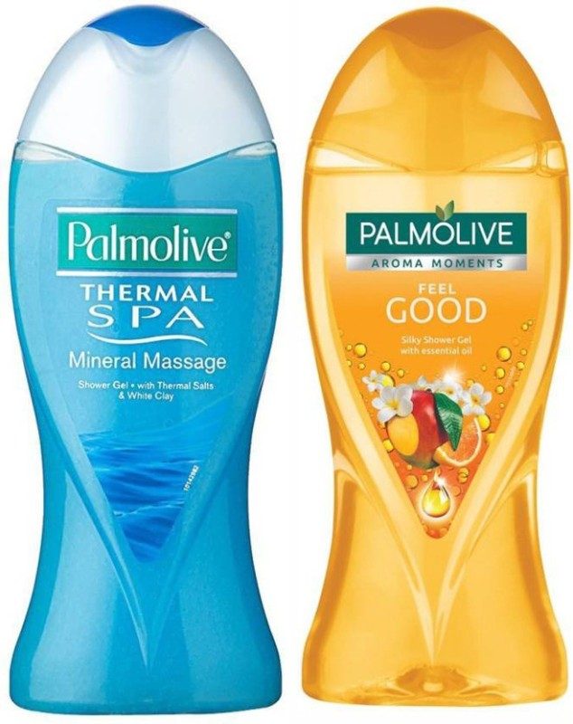 Palmolive Mix Variety Shower Gel Thermal Spa Mineral Massage With Thermal Salts & White Clay , Aroma Moments Feel Good Silky With essential Oil(500 ml, Pack of 2)