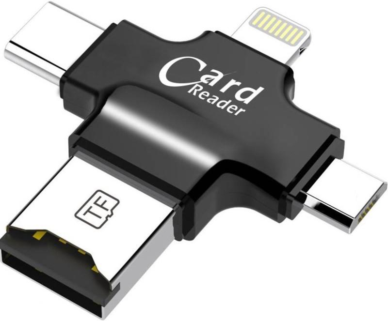 Homelux 4 in 1 OTG Four ports lightning + Type C + Micro USB + USB Card Reader(Black)