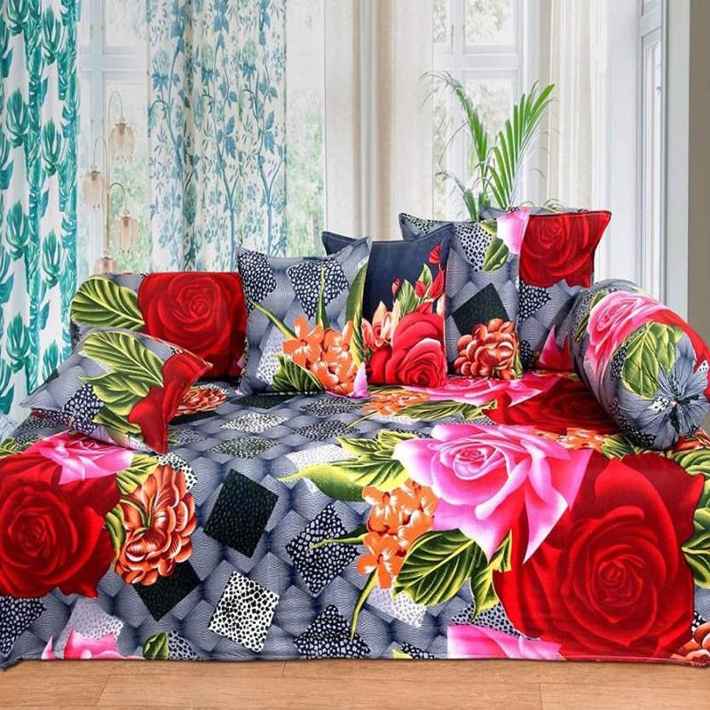 Gurnoor Polycotton Floral Diwan Set