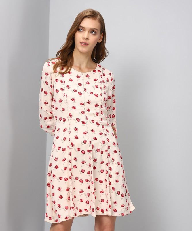 Allen Solly Womens A-line Beige Dress