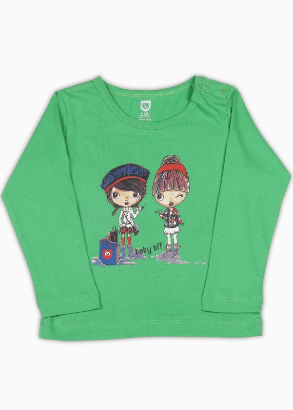 612 League Baby Girls Cotton Top(Green, Pack of 1)