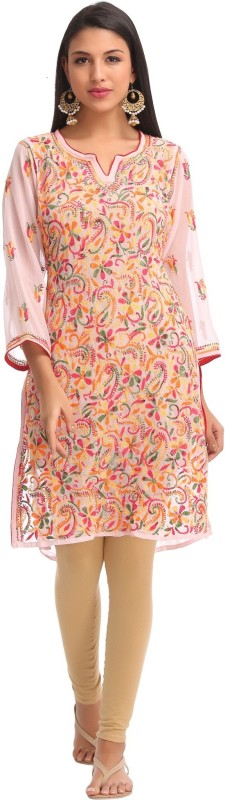 Ada Women's Embroidered, Chikan Embroidery Straight Kurta(Pink)