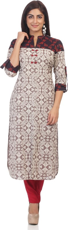 ARK Casual Printed Women Kurti(Multicolor)