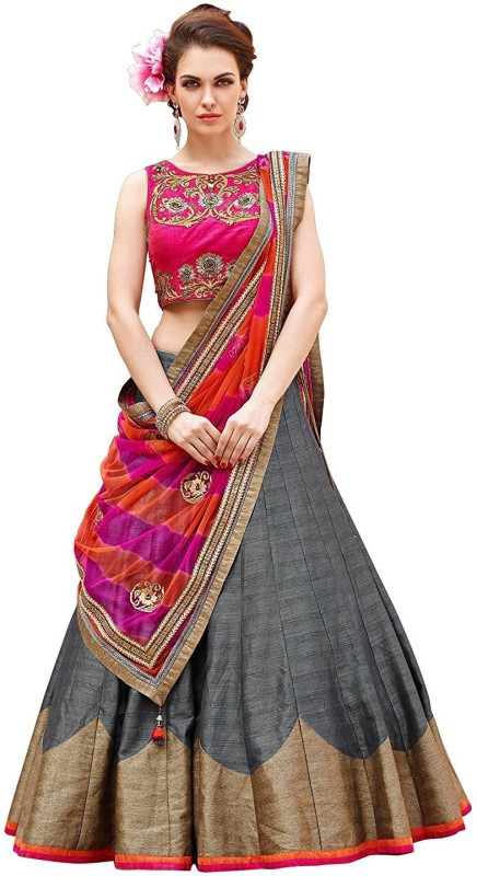 Minifly Embroidered Lehenga Choli(Grey)