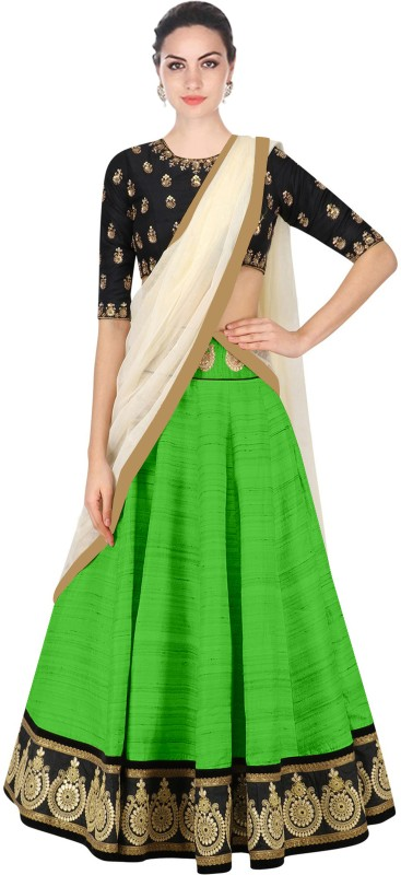 Minifly Embroidered Lehenga Choli(Green)