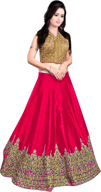 Minifly Embroidered Lehenga Choli(Pink)