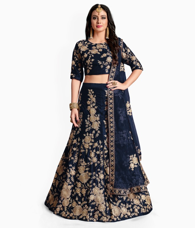 Fabron Embroidered Lehenga, Choli and Dupatta Set(Blue)
