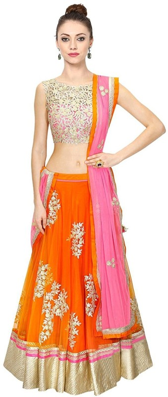 Minifly Embroidered Lehenga Choli(Orange)