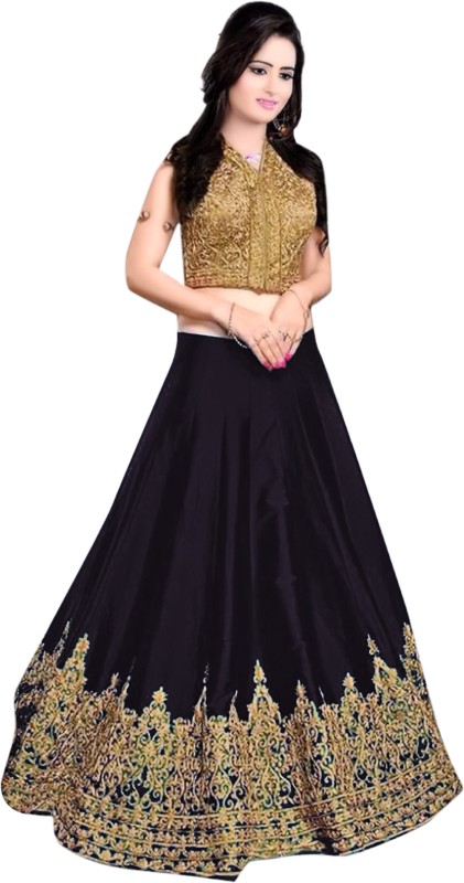 Minifly Embroidered Lehenga Choli(Black)