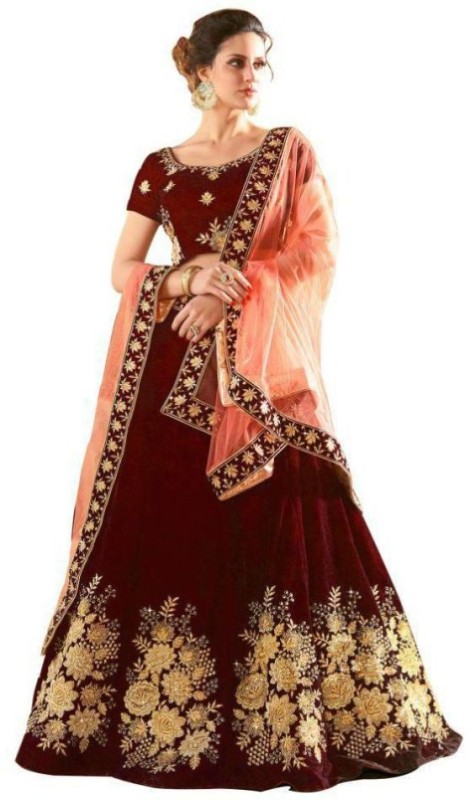 PnD Creation Embroidered Semi Stitched Lehenga, Choli and Dupatta Set(Maroon)