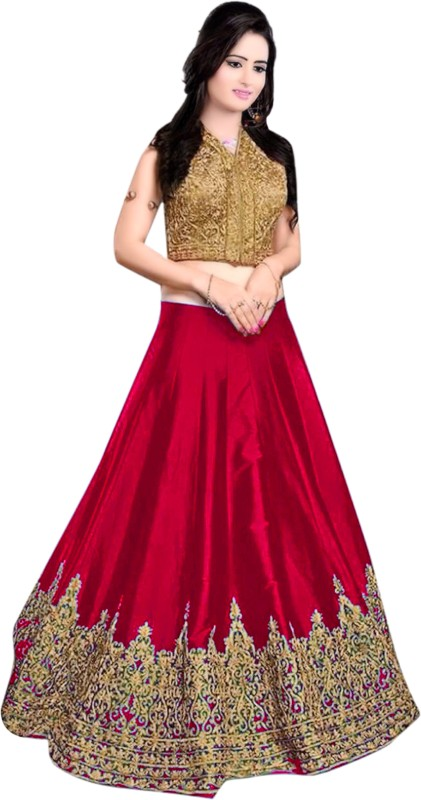 Minifly Embroidered Lehenga Choli(Red)
