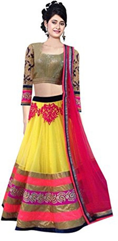 Minifly Embroidered Lehenga Choli(Yellow)