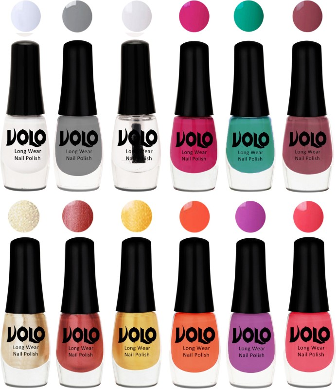 Volo Color Rich Toxic Free Perfection Shine Nail Polish Set of 12 Matte White, Coral, Hot Lava, Light Golden, Bright Plum, Extra Shine Top Coat, Peach Pink, Grey, Passion Pink, Gold Chrome, Radium Green, Light Pink(Pack of 12)