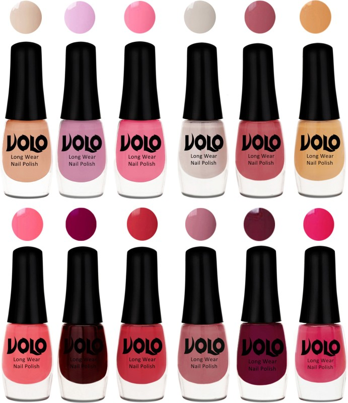 Volo Color Rich Toxic Free Perfection Shine Nail Polish Set of 12 Ice Nude, Wine Maroon, Tan, Coral Compass, Pink Nude, Flirty Nude, Nudes Spring, Passion Pink, Wine, Light Pink, Light Purple, Pink Mania(Pack of 12)