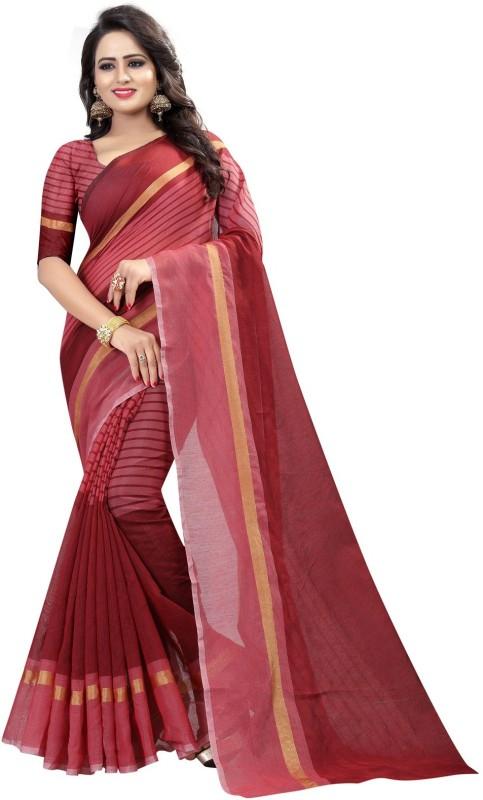 Dhyey fashion Striped Fashion Kota Cotton Saree(Maroon)
