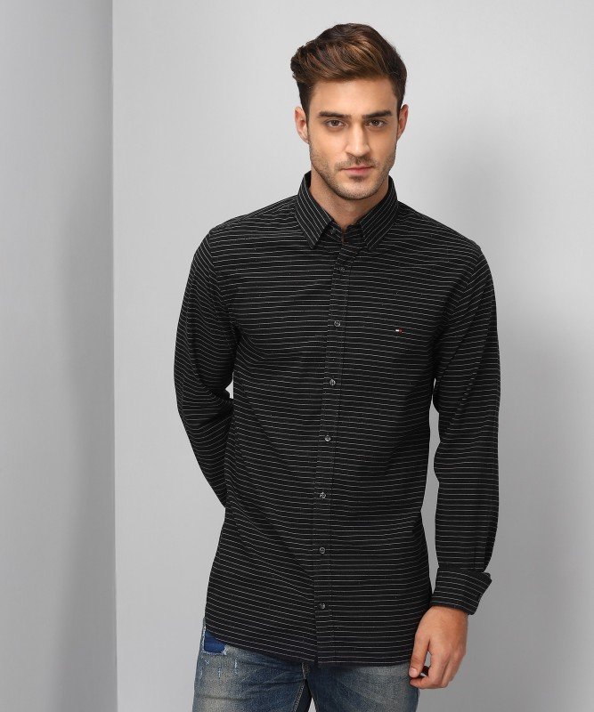 Tommy Hilfiger Mens Striped Casual Spread Shirt