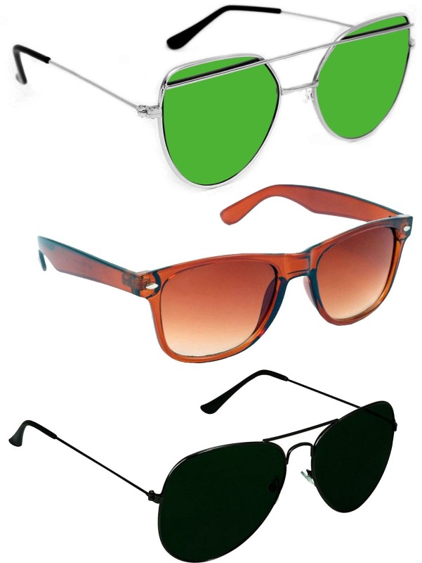 GreatDio Aviator Sunglasses(Green, Black, Brown) image