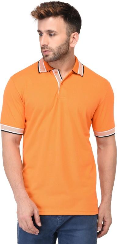 EPG Solid Men Polo Neck Orange T-Shirt