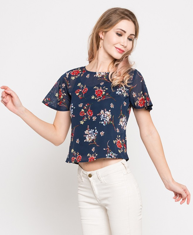 98b04486852751 Lee Cooper by FBB Casual Short Sleeve Floral Print Women's Blue Top