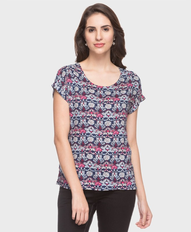 DJ &C by FBB Casual Short Sleeve Floral Print Women's Blue Top