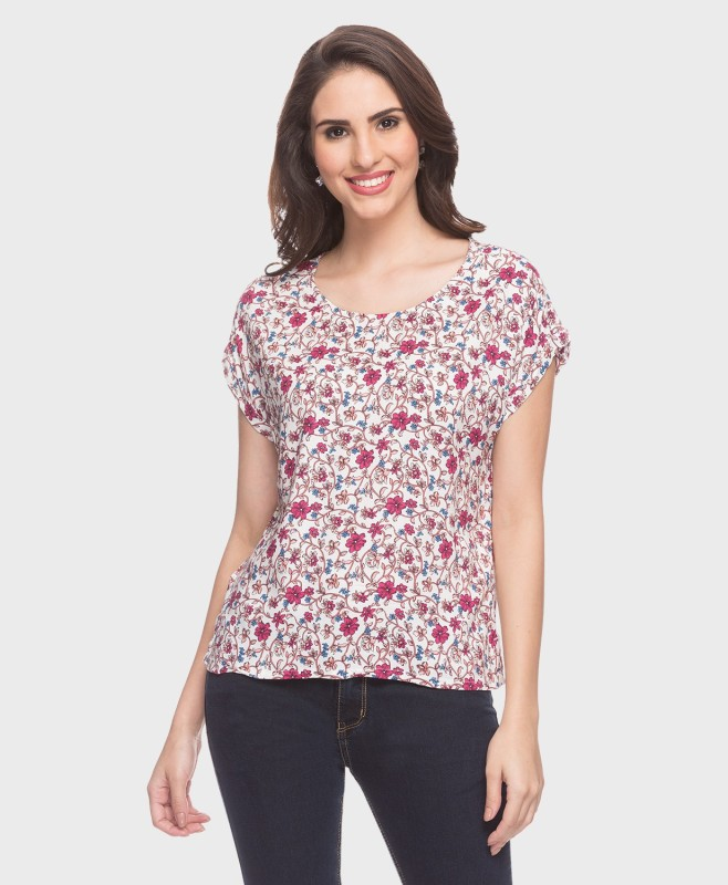 DJ &C by FBB Casual Short Sleeve Floral Print Women's Multicolor Top