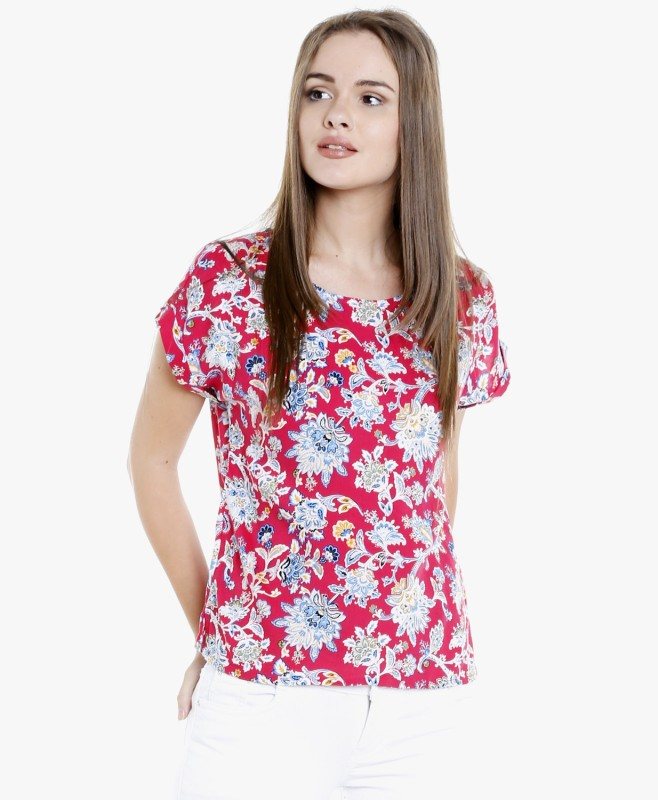 DJ &C by FBB Casual Short Sleeve Floral Print Women's Pink Top