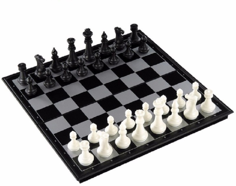 deziine Folding Magnetic Chess Board Black and White 9.5 inch 9.5 inch Chess Board(Multicolor)
