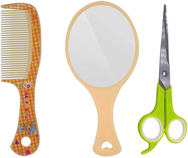 Fully Makeup Mirror For Travel Use With Comb & Scissor For Women And Men(Set of 3)