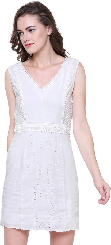 INDIA INC. Women Fit and Flare White Dress