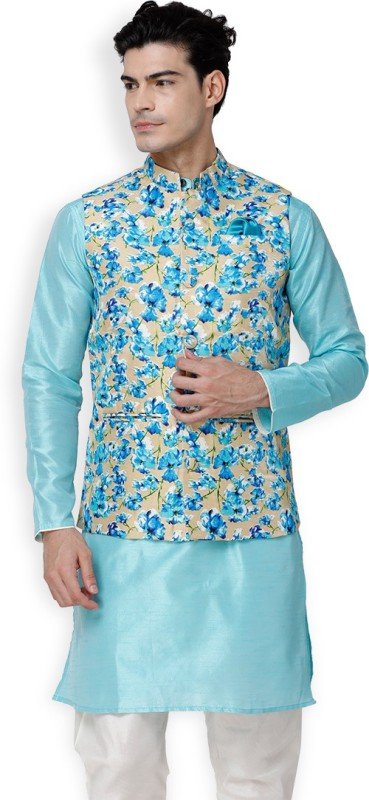 Svanik Sleeveless Floral Print Men Jacket