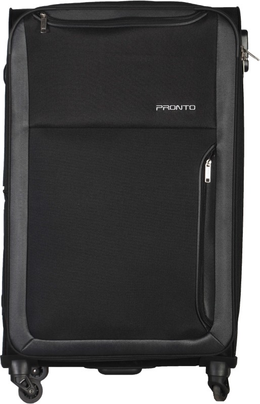 Pronto Paris Spinner Soft Trolley 68 cm (Black) Expandable Check-in Luggage - 26 inch(Black)