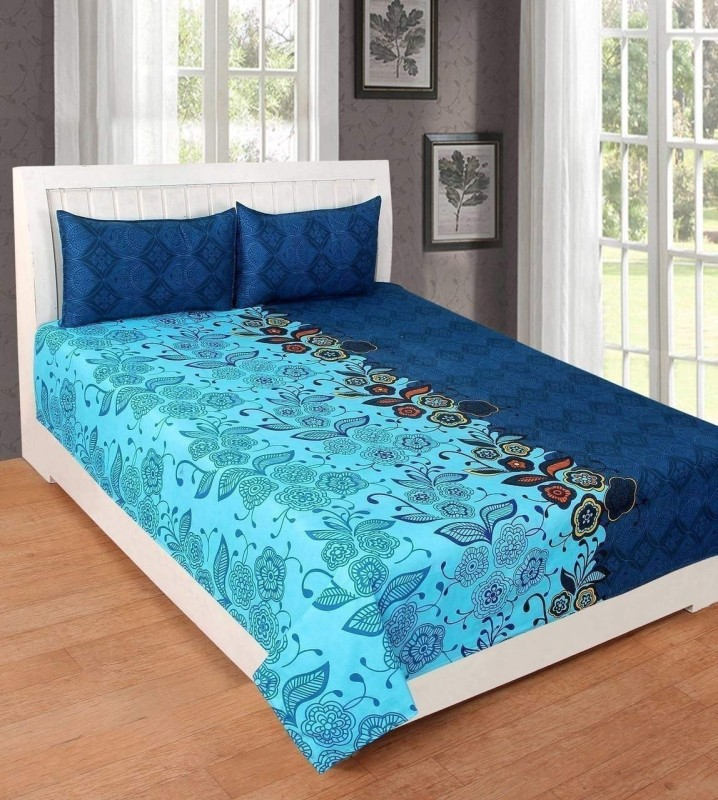 MAD DECOR HOUSE 150 TC Polycotton Double Floral Bedsheet(Pack of 1, Multicolor)