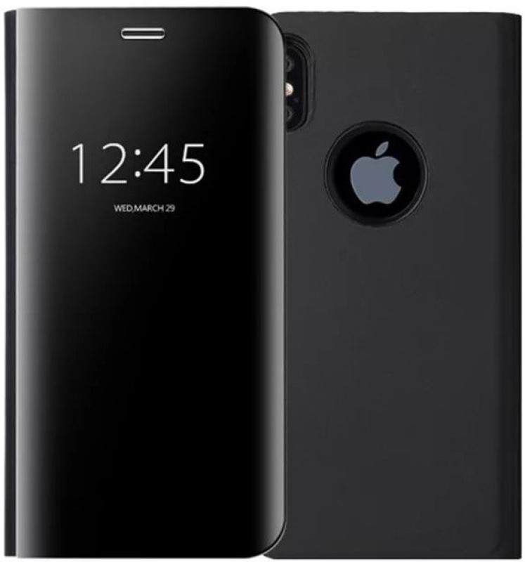 Mobile Mart Flip Cover for Apple iPhone X(Black, Cases with Holder, Glass, Polycarbonate)