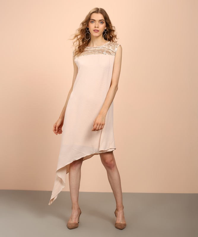 AND Womens High Low Beige Dress