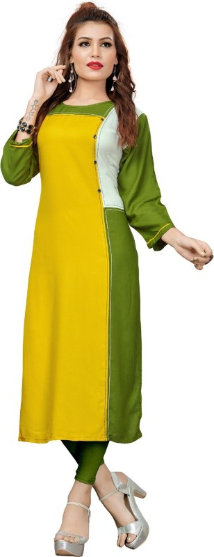 KAYA FASHION Festive & Party Solid Women Kurti(Yellow, Green, White)