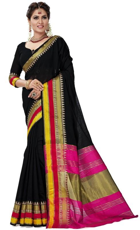 Rola Trendz Embellished Banarasi Pure Silk, Banarasi Silk, Art Silk, Jacquard Saree(Black, Pink, Yellow)