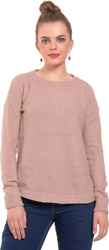 MansiCollections Solid Round Neck Casual Women's Beige Sweater