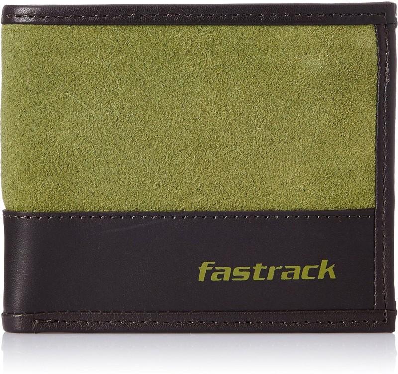 Fastrack Men Green, Black Genuine Leather Wallet(2 Card Slots)
