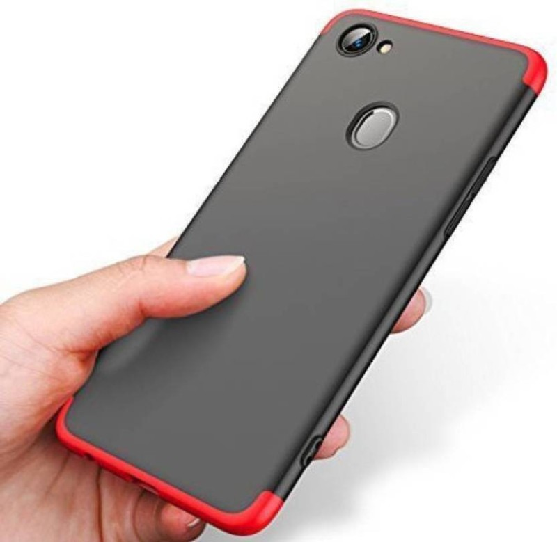 SS CREATION Front & Back Case for OPPO F5(RED, BLACK, Cases with Holder, Plastic)