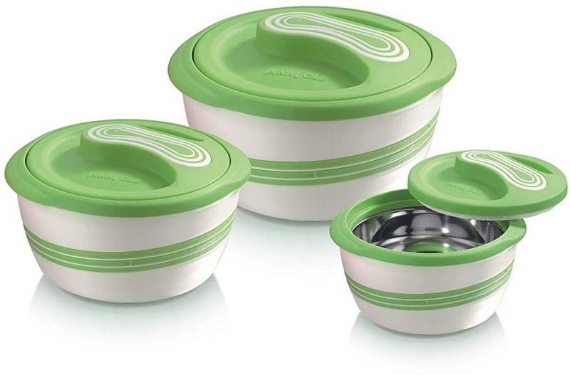 Pinnacle present Palazia Matte outstanding & ingenious look with inner stainless steel construction & insulation Set of 3 pcs (500ml / 1000ml / 2000 ml) Green color Pack of 3 Casserole Set(3500 ml)