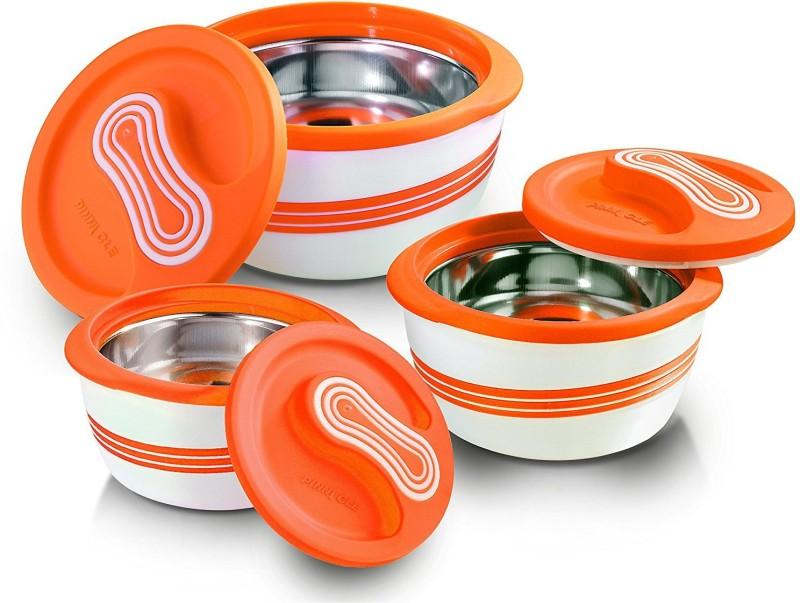 Pinnacle present Palazia Matte outtanding & ingenious look with inner stainless steel construction & insulation Set of 3 pcs (500ml / 1000ml / 2300 ml) Orange color Pack of 3 Casserole Set(3800 ml)