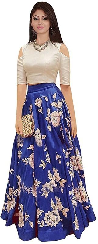F Plus Fashion Embroidered Semi Stitched Lehenga & Crop Top(Blue, Beige)