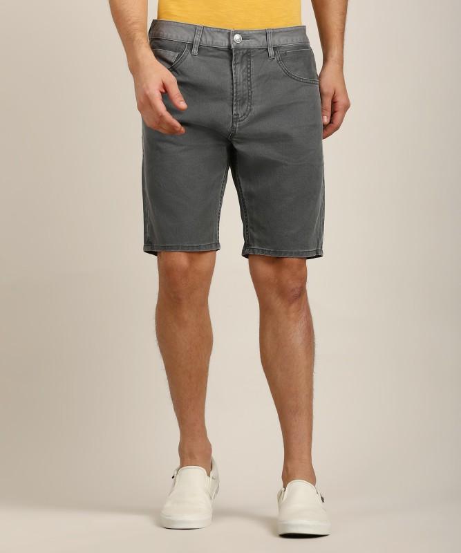 Quiksilver Solid Men's Grey Denim Shorts