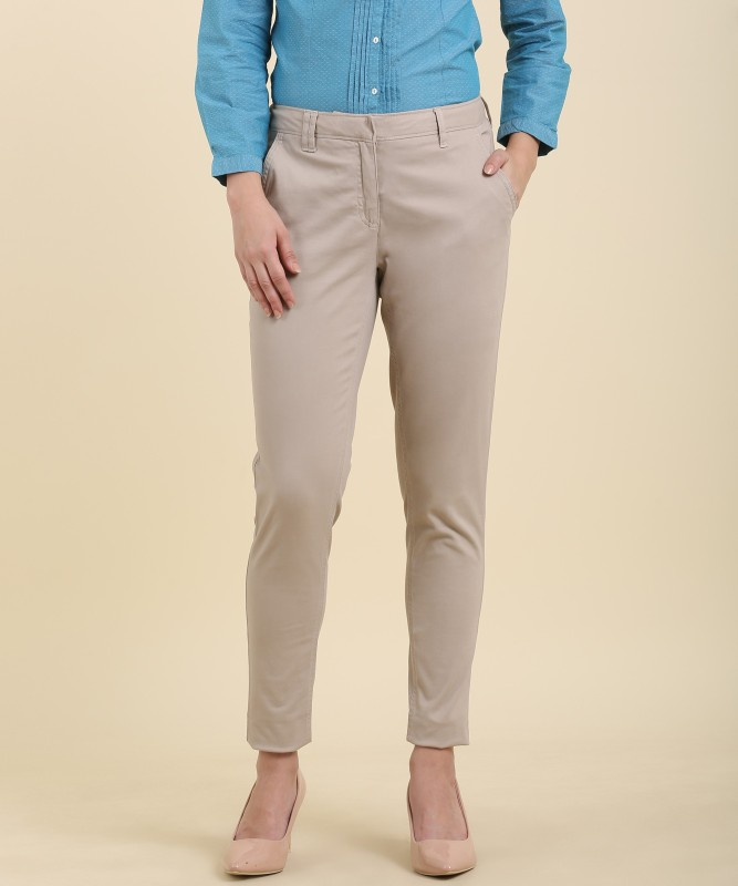 Allen Solly Mariia Regular Fit Womens Beige Trousers