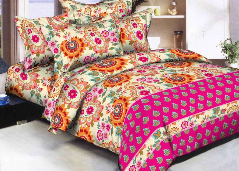 RD 180 TC Polycotton, Cotton Double Floral Bedsheet(Pack of 1, Pink)