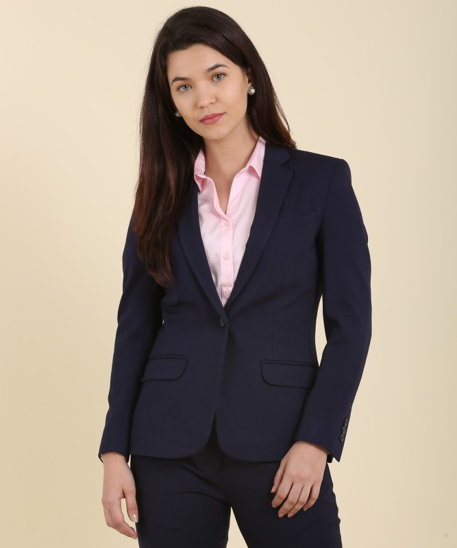 Allen Solly Solid Single Breasted Casual Womens Blazer(Blue)