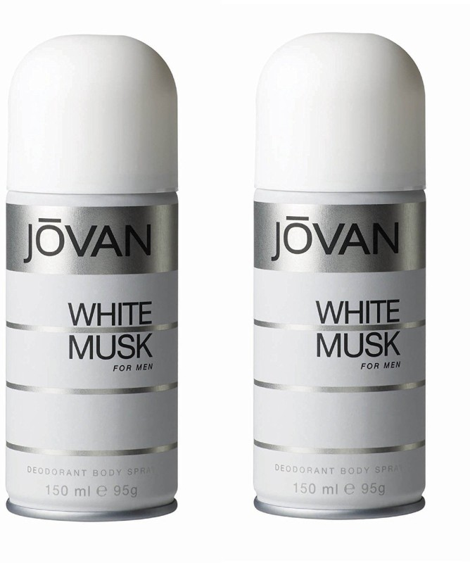Jovan White Musk Deodorant Body Spray For Men 150ML Each (Pack of 2) Deodorant Spray - For Men(300 ml, Pack of 2)