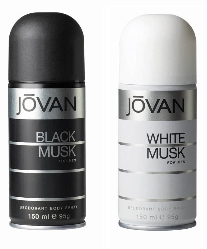 Jovan Black Musk and White Musk Deodorant Body Spray For Men 150ML Each (Pack of 2) Deodorant Spray - For Men(300 ml, Pack of 2)