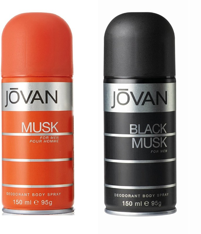 Jovan Musk and Black Musk Deodorant Body Spray For Men 150ML Each (Pack of 2) Deodorant Spray - For Men(300 ml, Pack of 2)